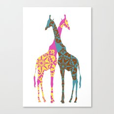 Two Giraffes together Canvas Print
