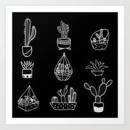Minimalist Cacti Collection White on Black Art Print