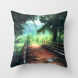 Landscape of nature with a wooden bridge Throw Pillow