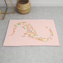 Floral Brontosaurus in Pink Rug