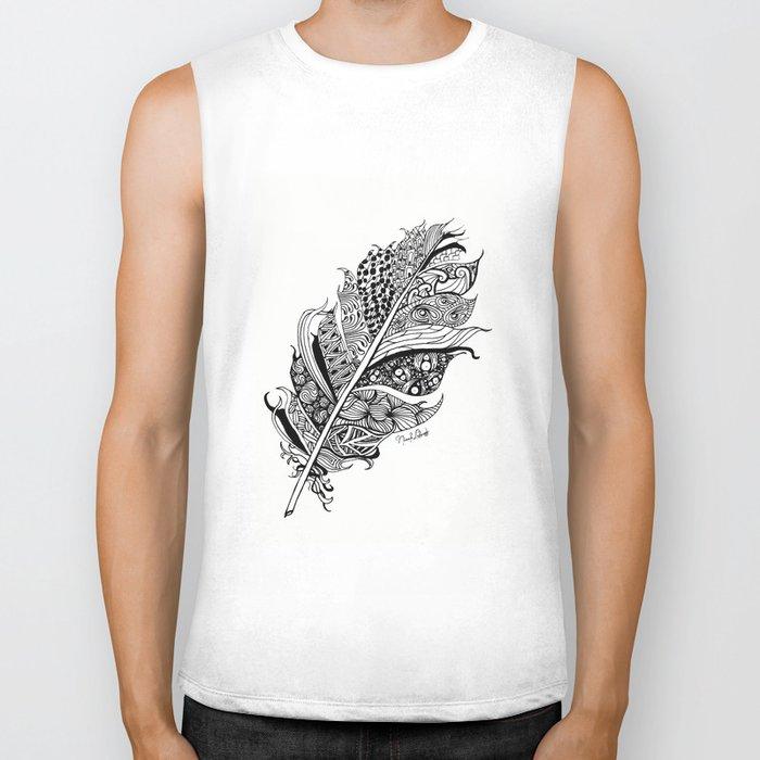 Feather Black and White 3 feathers Bird birds Zen Biker Tank