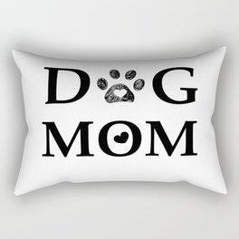 Black paw print with hearts. Dog mom text. Happy Mother's day Rectangular Pillow