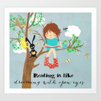 reading Art Prints featuring reading by Darling Planet Earth