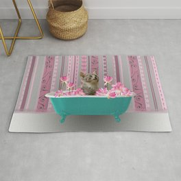 Turquoise Bathtub wit grey Kitty Cat and Lotus Flowers Rug