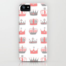 Coral and Grey Crowns iPhone Case