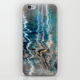 Abstract very colorful reflections of birch trees in water iPhone Skin