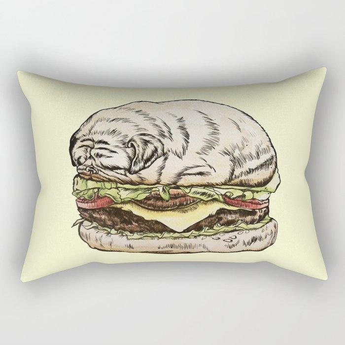 Pug Burger Rectangular Pillow