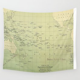 Vintage Map of The Pacific Ocean (1874) Wall Tapestry
