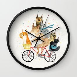 Cycling pets Wall Clock