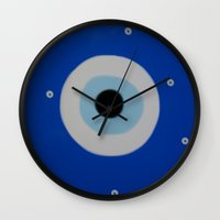 evil eye Wall Clocks featuring Evil Eye by S Joyce