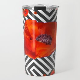 AWESOME GREY GRAPHIC ART YELLOW-RED POPPIES GARDEN Travel Mug
