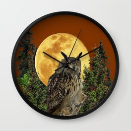 BROWN WILDERNESS OWL WITH FULL MOON & TREES Wall Clock