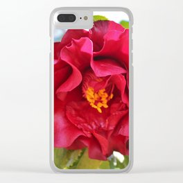 Red Wine Camellia Clear iPhone Case