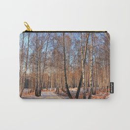 road forest birch grove winter light Carry-All Pouch