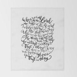 Trust and Obey - Hymn - BW Throw Blanket