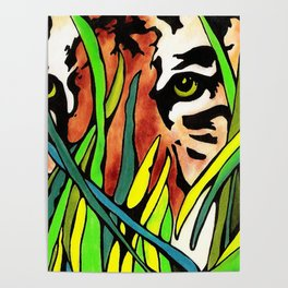 Tiger Eyes Looking Through Tall Grass By annmariescreations Poster