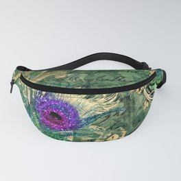 Vintage Green Peacock Fanny Pack