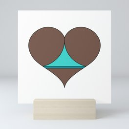 Black Butt Heart Mini Art Print