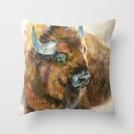 Bison Oil Painting Throw Pillow