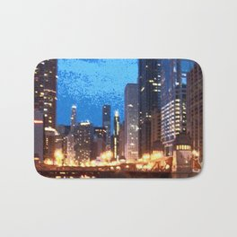Chicago Night on Lasalle Street Bath Mat