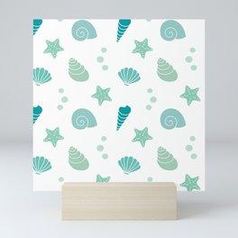 cute summer exotic pattern background illustration with seashells Mini Art Print