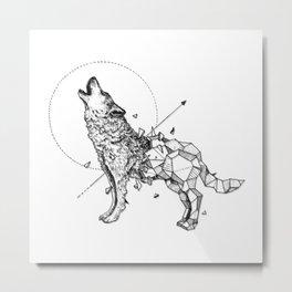 Geometrical Wolf Metal Print