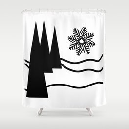 Christmas Trees and Snow Shower Curtain