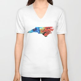 North Carolina - Colorful Wall Map by Sharon Cummings Unisex V-Neck