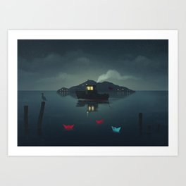 Ships In The Night Art Print