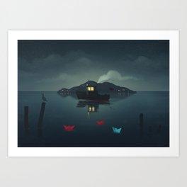 Ships In The Night Art Print