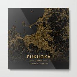 Fukuoka, Japan - Gold Metal Print