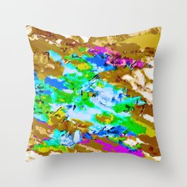 psychedelic splash painting abstract texture in brown green blue pink Throw Pillow