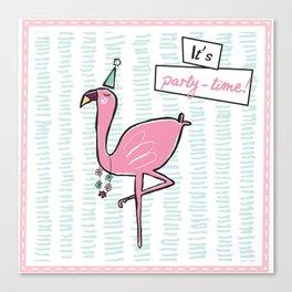 """It's party time"" Flamingo Canvas Print"