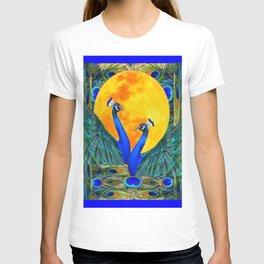 FULL GOLDEN MOON & 2  BLUE PEACOCKS PATTERN ART T-shirt