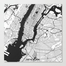 New York Map Gray Canvas Print