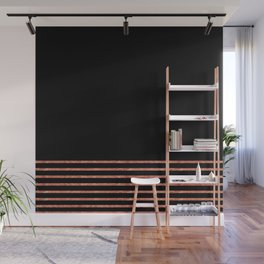 Black and Copper Stripes Wall Mural
