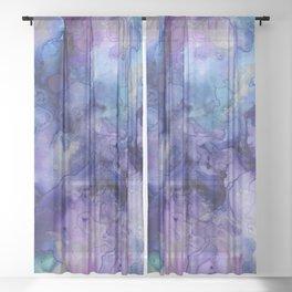 Abstract Watercolor, Ink Prints, Indigo, Blue, Purple Sheer Curtain