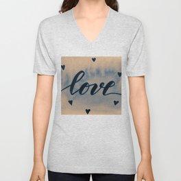 Valentine's Day Watercolor Love – neutral Unisex V-Neck