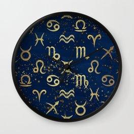 Twelve Zodiac Signs Horoscope Pattern Wall Clock