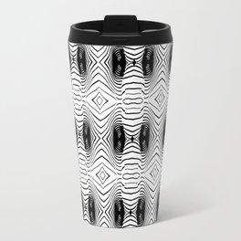 black wave lines  Travel Mug