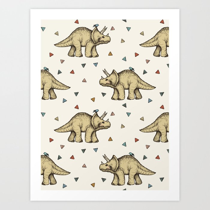 Triceratops & Triangles Art Print