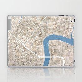 New Orleans Cobblestone Watercolor Map Laptop & iPad Skin