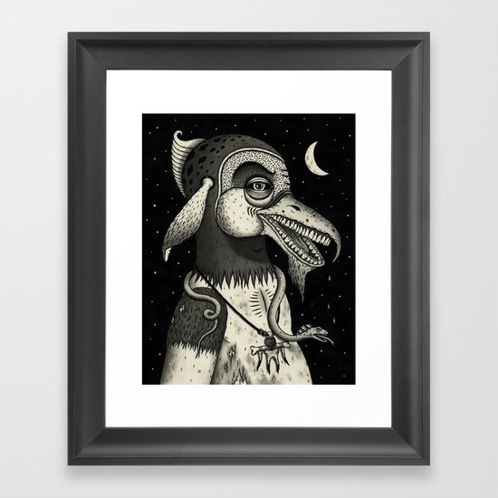 Bearded Fowl with Ambiguous Intentions Framed Art Print