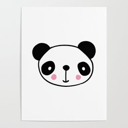 Cute panda head in black and white Poster