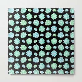 Modern black teal turquoise trendy cactus floral pattern Metal Print