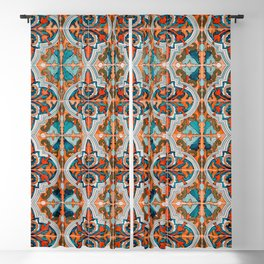 Seamless Floral Pattern Ornamental Tile Design  3 - Red Blackout Curtain