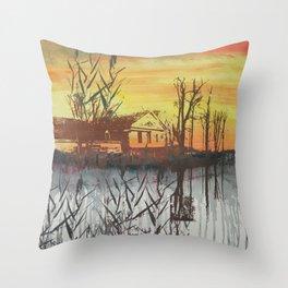 Little Farmhouse in October Throw Pillow