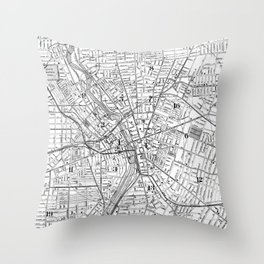 Vintage Map of Rochester NY (1901) BW Throw Pillow