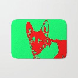 red Mitzi on green Bath Mat