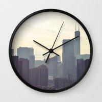 chicago Wall Clocks featuring Chicago by Liz Scheiner